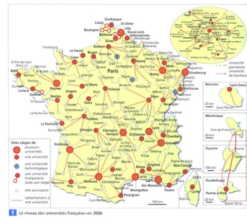 Carte des Universités